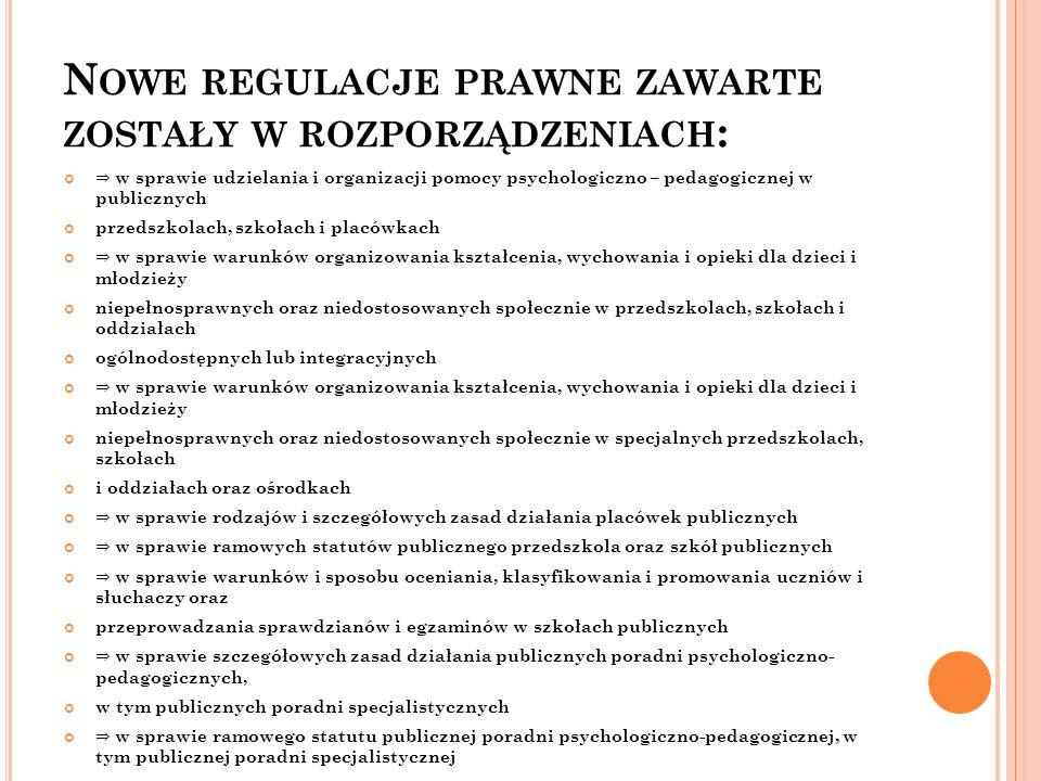 Nowe regulacje prawne zawarte zostały w rozporządzeniach: