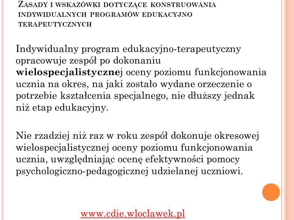 Zasady i wskazówki dotyczące konstruowania indywidualnych programów edukacyjno terapeutycznych