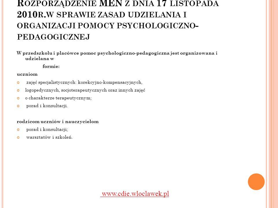 Rozporządzenie MEN z dnia 17 listopada 2010r