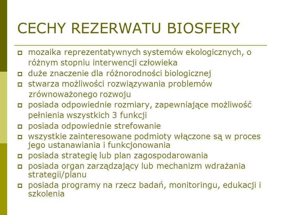 CECHY REZERWATU BIOSFERY