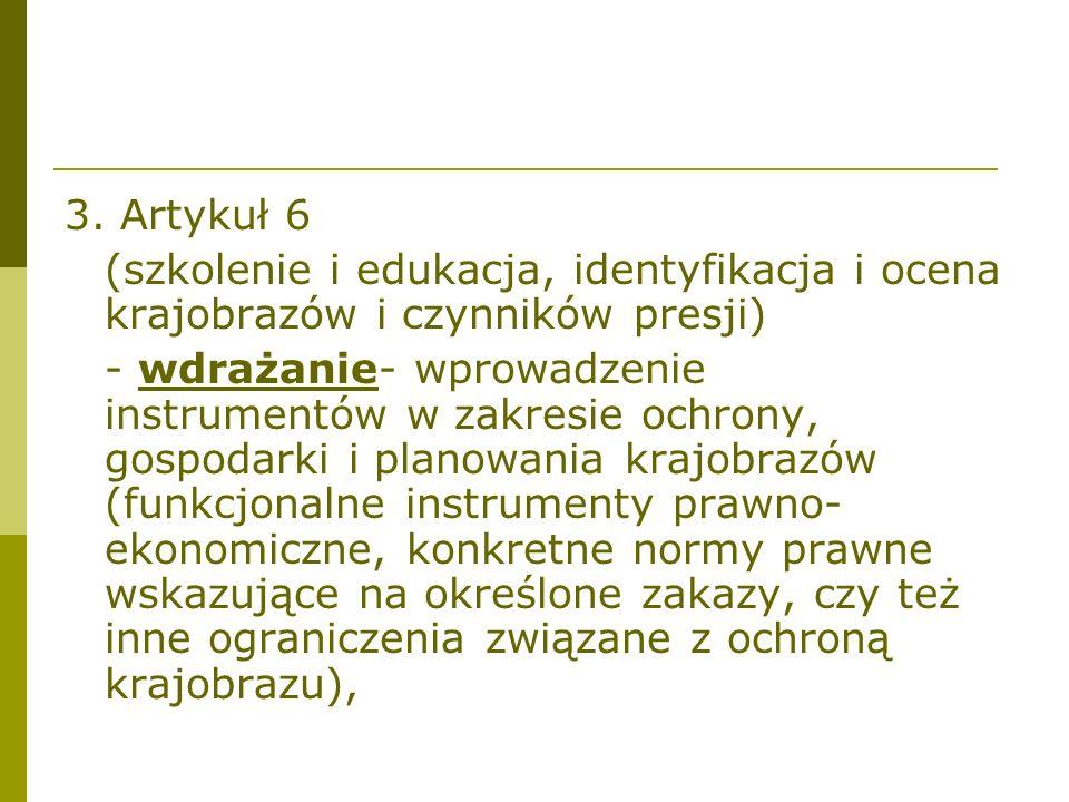 3. Artykuł 6 (szkolenie i edukacja, identyfikacja i ocena krajobrazów i czynników presji)