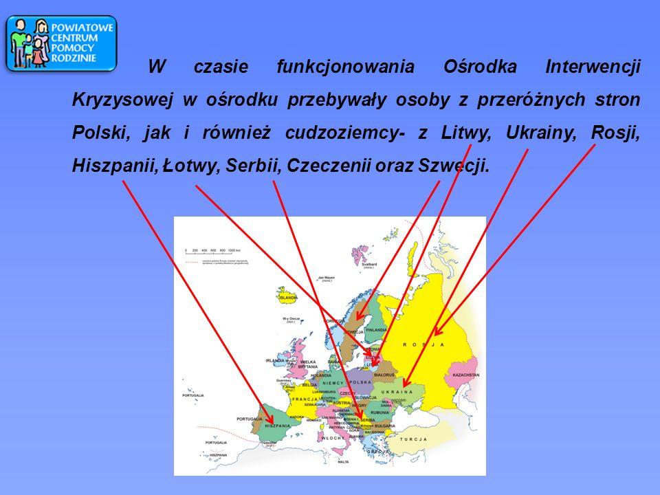 W czasie funkcjonowania Ośrodka Interwencji Kryzysowej w ośrodku przebywały osoby z przeróżnych stron Polski, jak i również cudzoziemcy- z Litwy, Ukrainy, Rosji, Hiszpanii, Łotwy, Serbii, Czeczenii oraz Szwecji.
