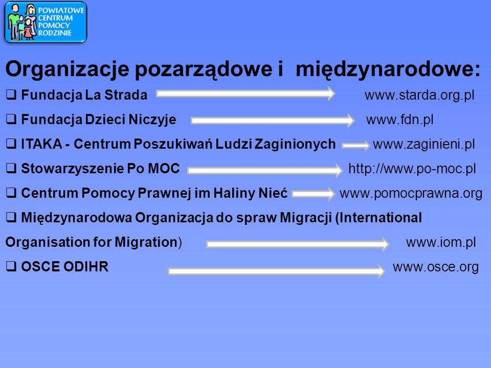 Organizacje pozarządowe i międzynarodowe:
