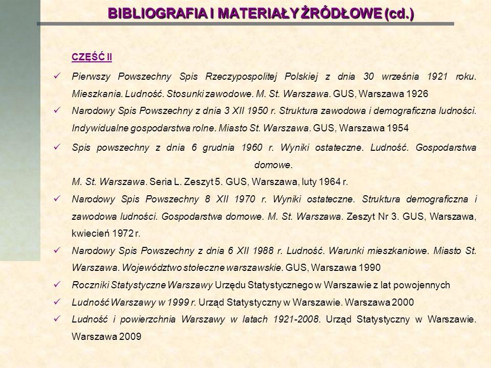 BIBLIOGRAFIA I MATERIAŁY ŹRÓDŁOWE (cd.)