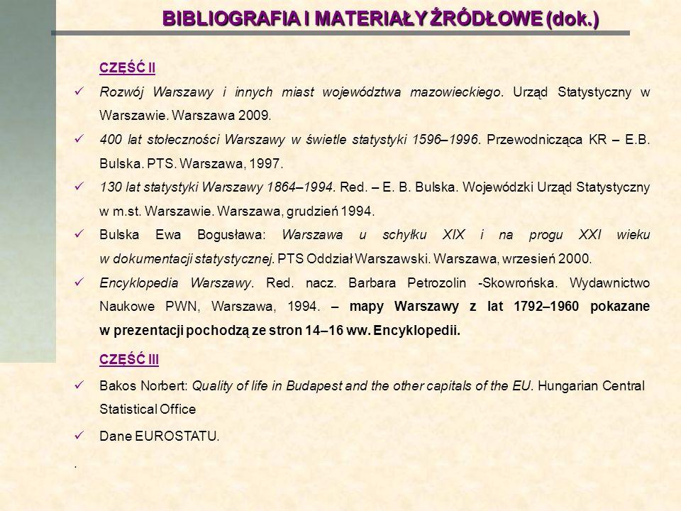 BIBLIOGRAFIA I MATERIAŁY ŹRÓDŁOWE (dok.)