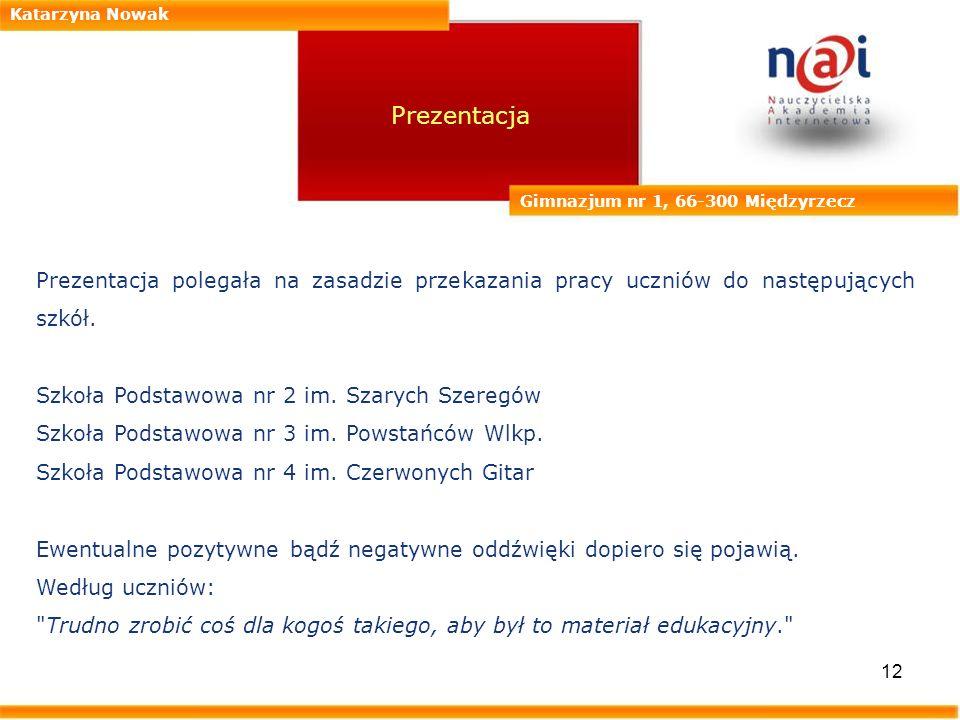 Katarzyna Nowak Prezentacja. Gimnazjum nr 1, 66-300 Międzyrzecz. Prezentacja polegała na zasadzie przekazania pracy uczniów do następujących szkół.