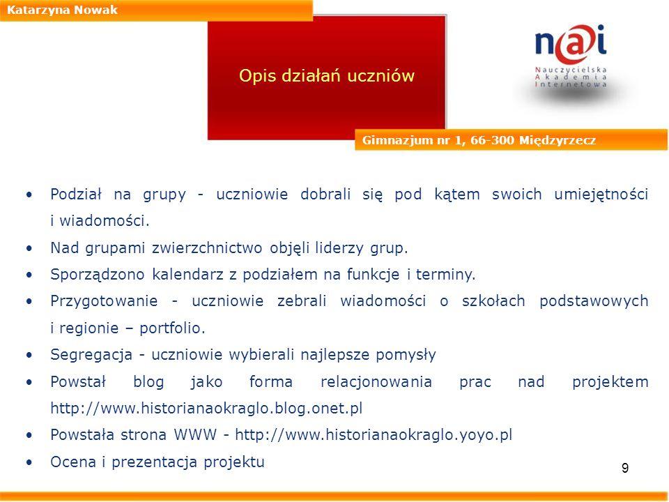 Katarzyna Nowak Opis działań uczniów. Gimnazjum nr 1, 66-300 Międzyrzecz.