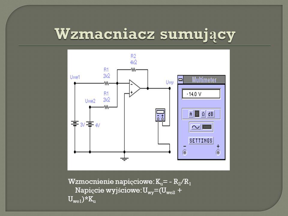 Wzmacniacz sumujący Wzmocnienie napięciowe: Ku= - R2/R1 Napięcie wyjściowe: Uwy=(Uwe2 + Uwe1)*Ku.
