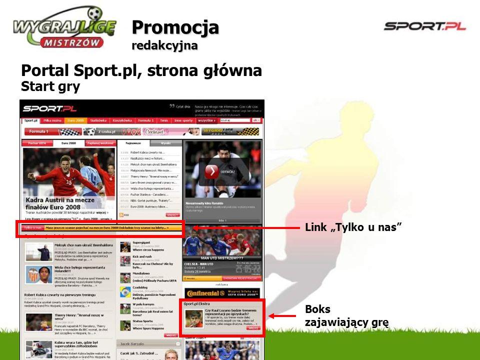 Promocja redakcyjna Portal Sport.pl, strona główna Start gry