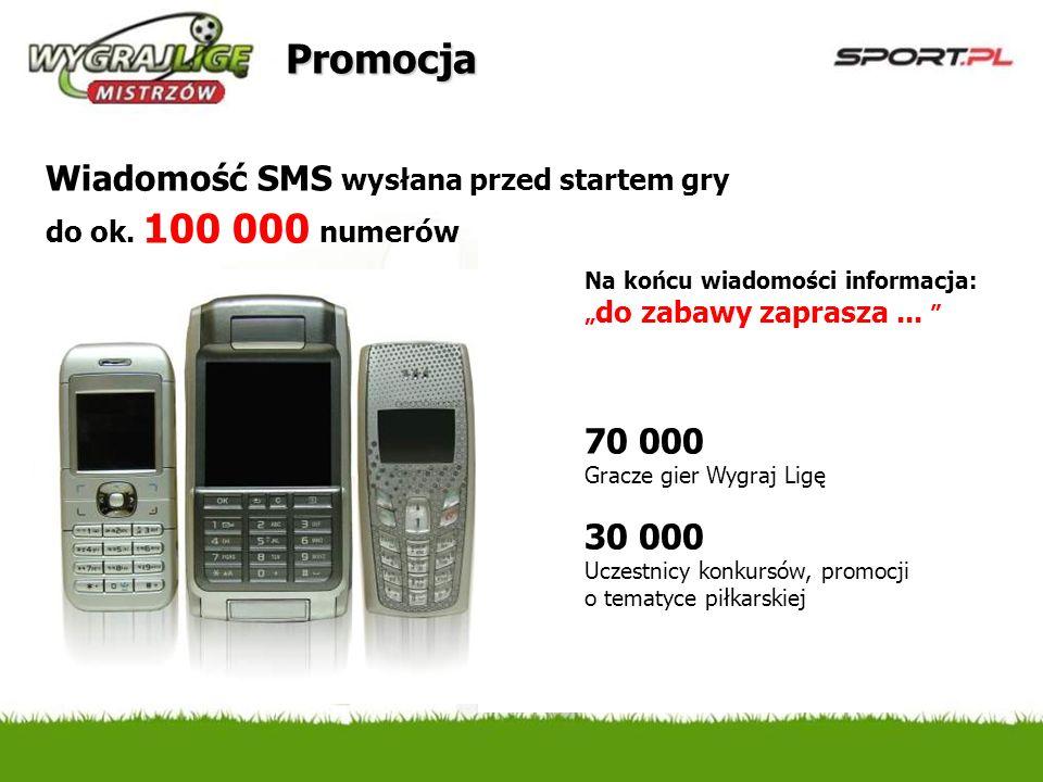 Promocja Wiadomość SMS wysłana przed startem gry