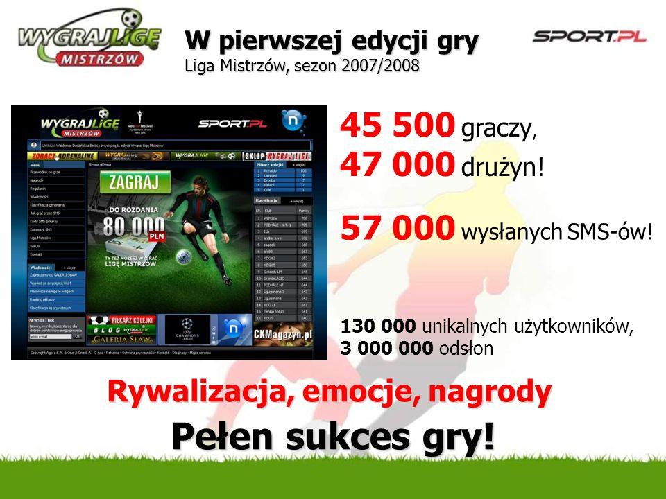 Pełen sukces gry! 45 500 graczy, 47 000 drużyn!