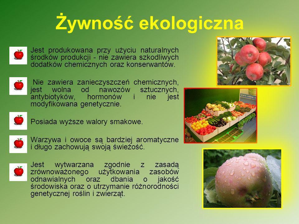 Żywność ekologiczna Jest produkowana przy użyciu naturalnych środków produkcji - nie zawiera szkodliwych dodatków chemicznych oraz konserwantów.