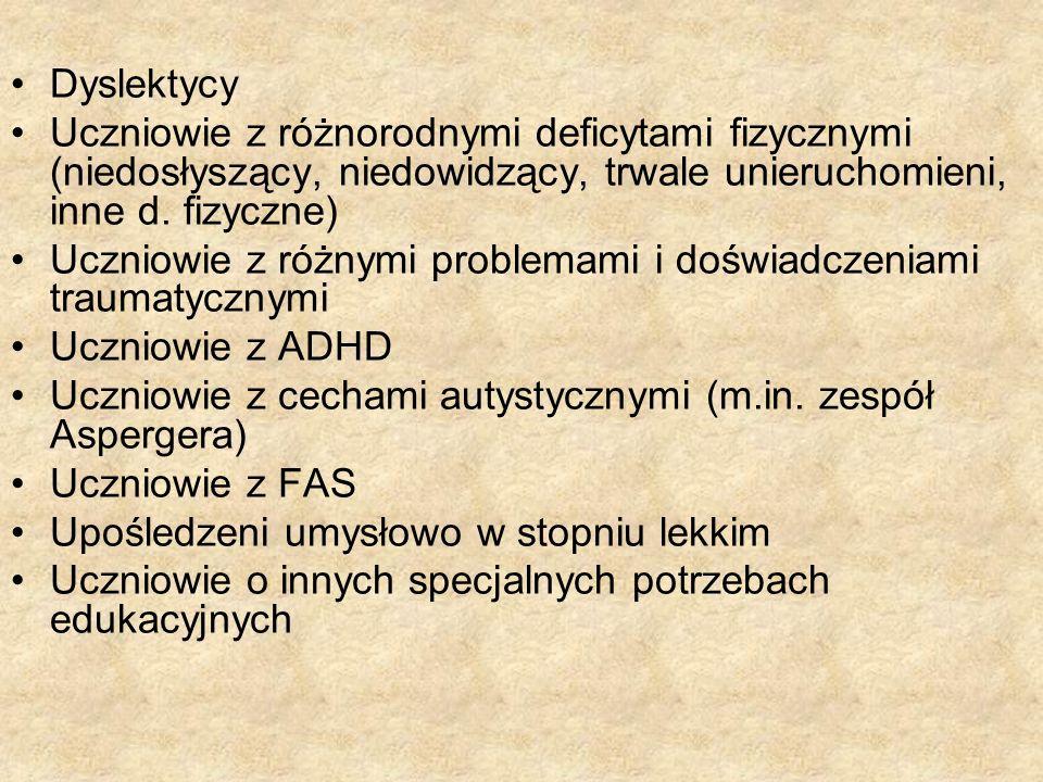 Dyslektycy Uczniowie z różnorodnymi deficytami fizycznymi (niedosłyszący, niedowidzący, trwale unieruchomieni, inne d. fizyczne)