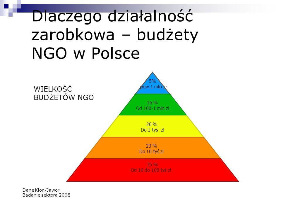 Dlaczego działalność zarobkowa – budżety NGO w Polsce