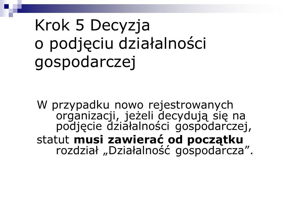 Krok 5 Decyzja o podjęciu działalności gospodarczej