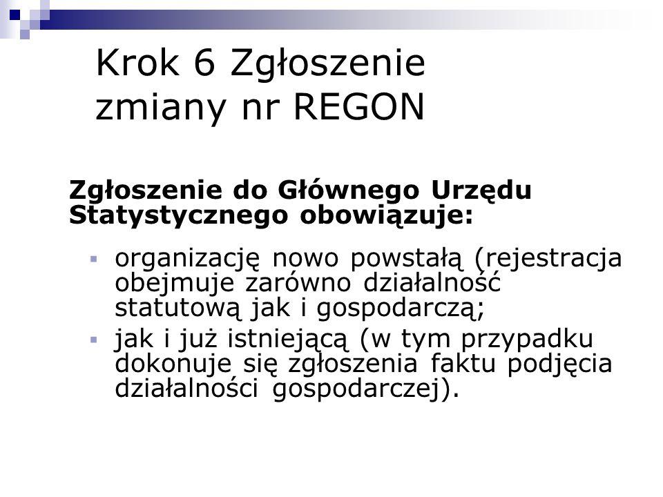 Krok 6 Zgłoszenie zmiany nr REGON
