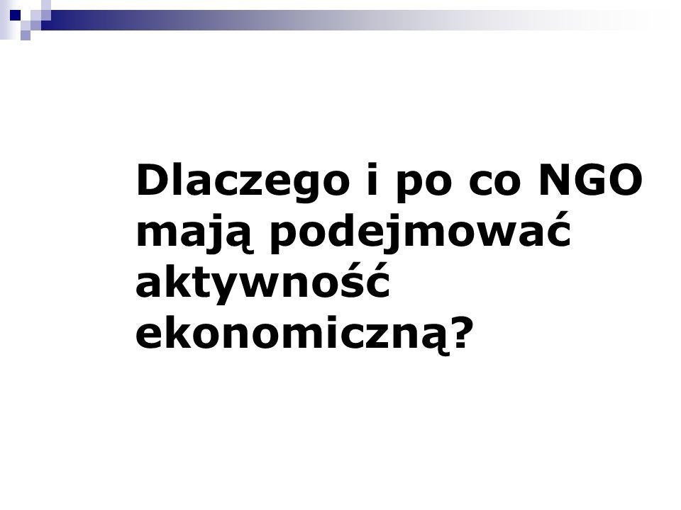 Dlaczego i po co NGO mają podejmować aktywność ekonomiczną