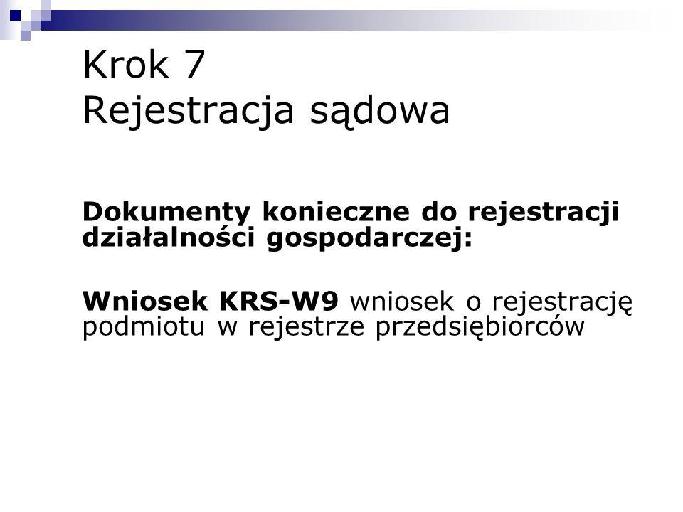 Krok 7 Rejestracja sądowa