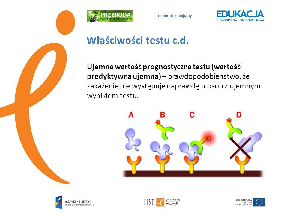 materiał specjalnyWłaściwości testu c.d.