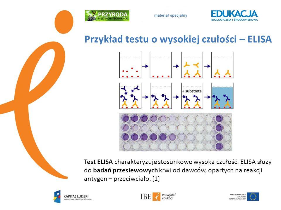 Przykład testu o wysokiej czułości – ELISA