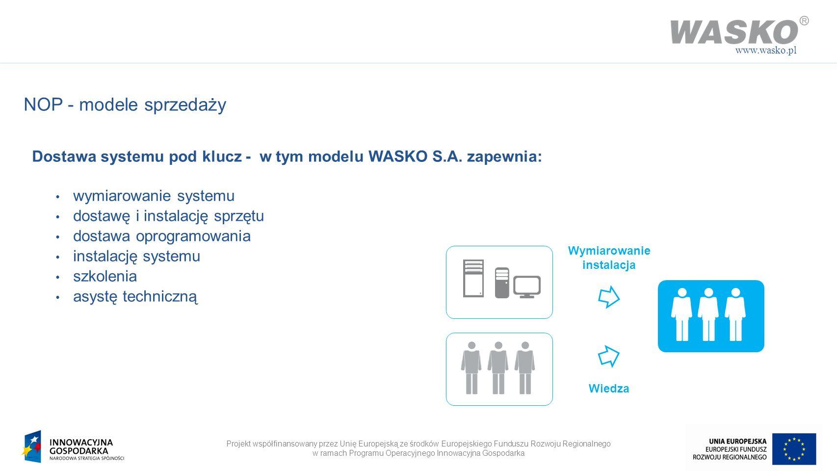 www.wasko.pl NOP - modele sprzedaży. Dostawa systemu pod klucz - w tym modelu WASKO S.A. zapewnia: