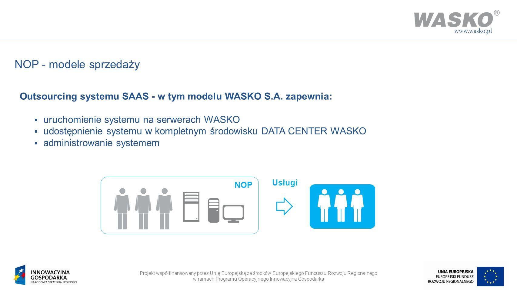www.wasko.pl NOP - modele sprzedaży. Outsourcing systemu SAAS - w tym modelu WASKO S.A. zapewnia: uruchomienie systemu na serwerach WASKO.