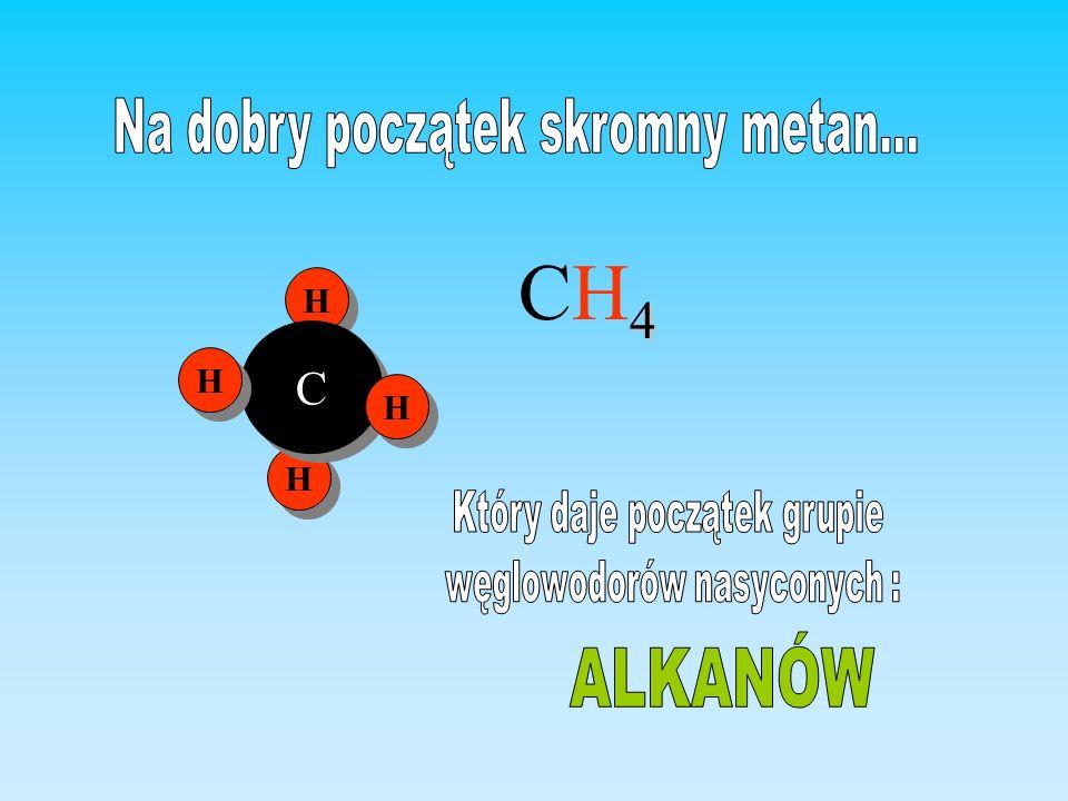 CH4 Na dobry początek skromny metan... ALKANÓW C H H H H