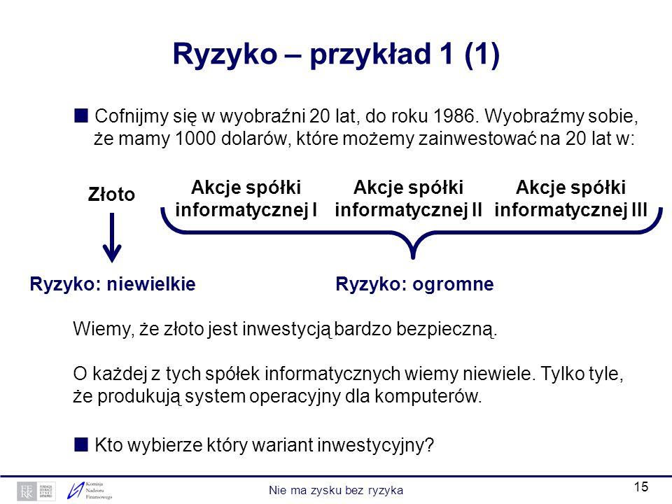 Ryzyko – przykład 1 (1)  Cofnijmy się w wyobraźni 20 lat, do roku 1986. Wyobraźmy sobie,