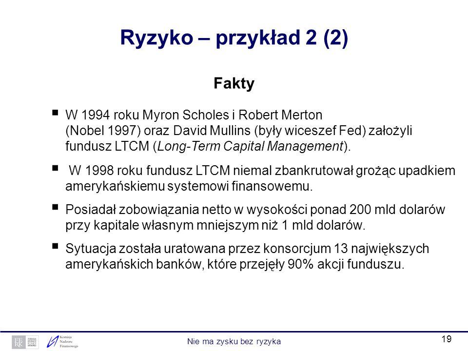 Ryzyko – przykład 2 (2) Fakty