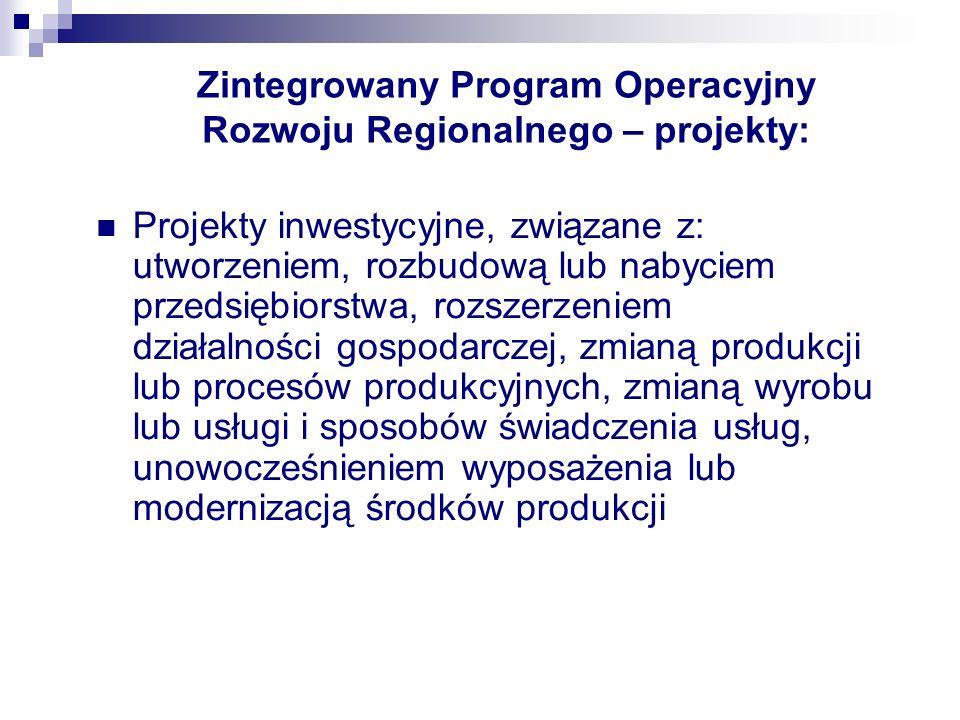 Zintegrowany Program Operacyjny Rozwoju Regionalnego – projekty: