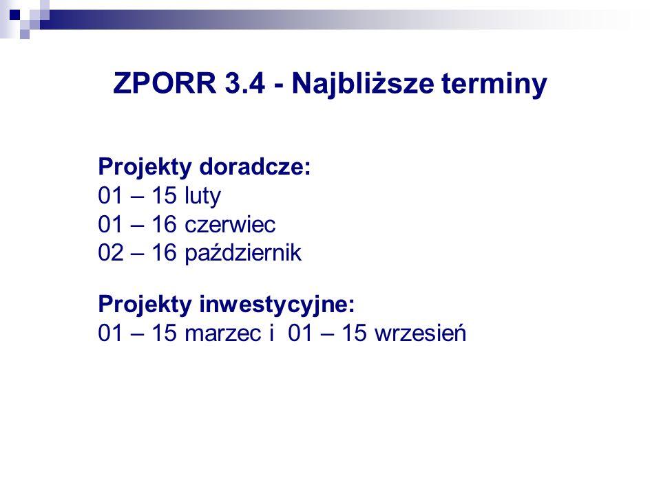 ZPORR 3.4 - Najbliższe terminy