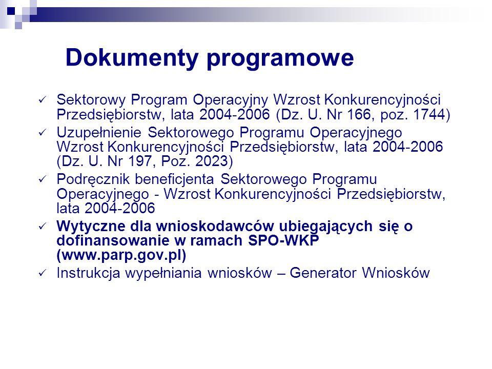 Dokumenty programowe Sektorowy Program Operacyjny Wzrost Konkurencyjności Przedsiębiorstw, lata 2004-2006 (Dz. U. Nr 166, poz. 1744)