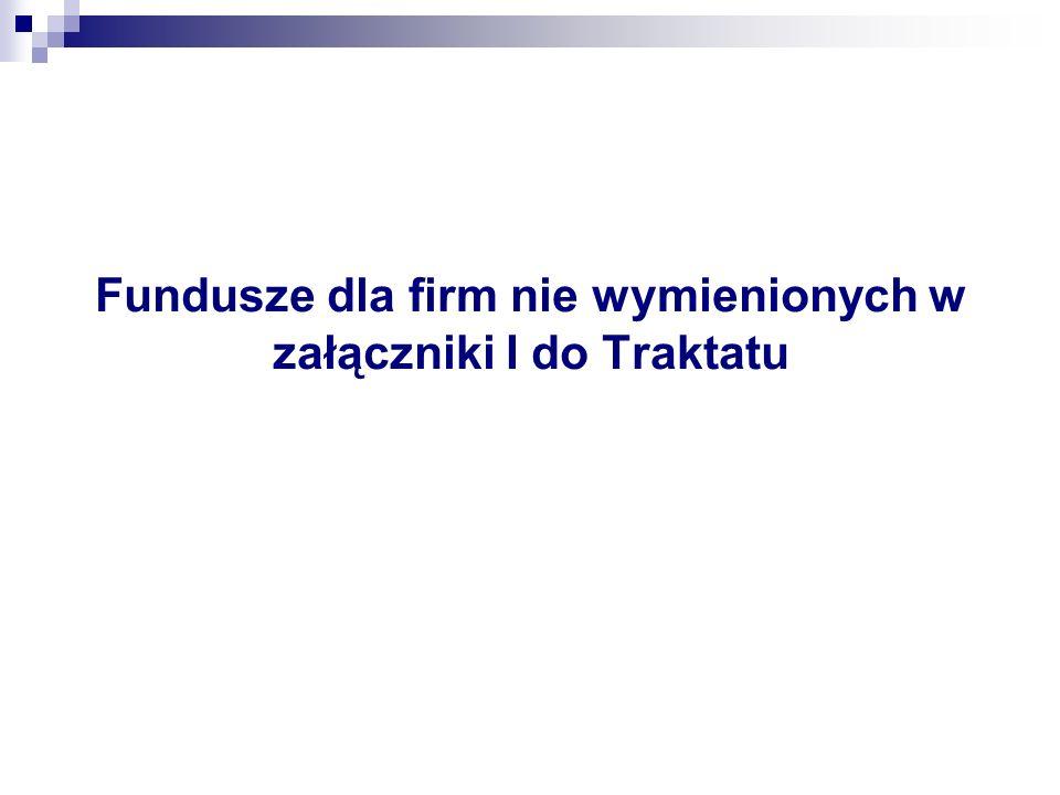 Fundusze dla firm nie wymienionych w załączniki I do Traktatu