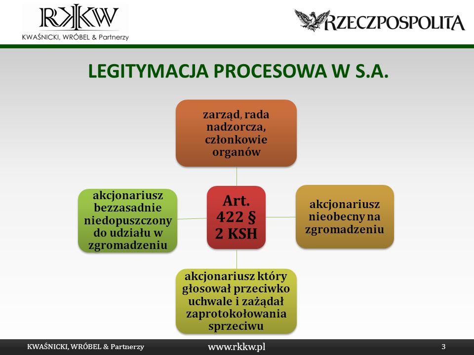Legitymacja procesowa w s.a.