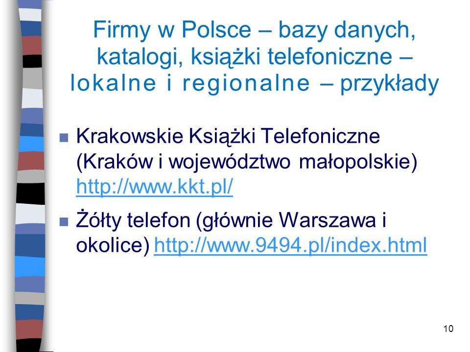 Firmy w Polsce – bazy danych, katalogi, książki telefoniczne – lokalne i regionalne – przykłady