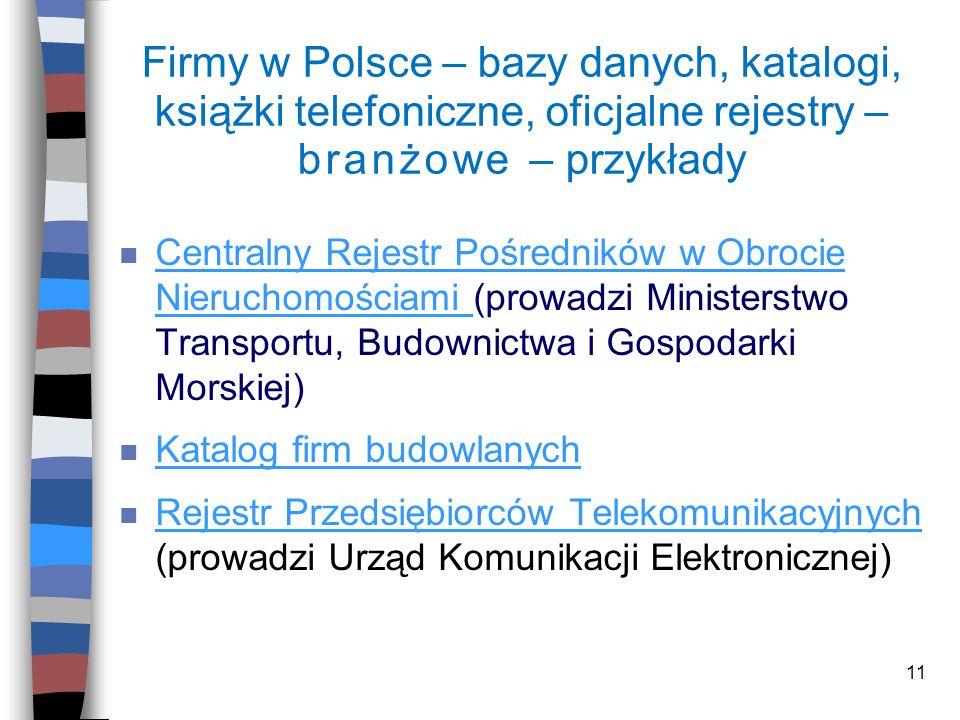 Firmy w Polsce – bazy danych, katalogi, książki telefoniczne, oficjalne rejestry – branżowe – przykłady