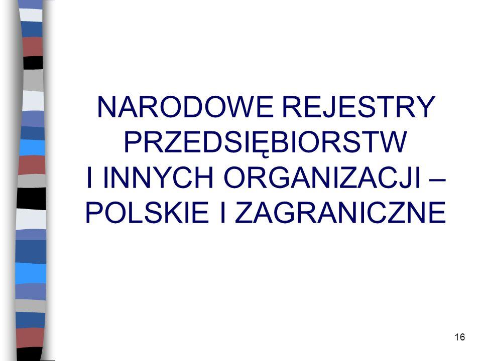 NARODOWE REJESTRY PRZEDSIĘBIORSTW I INNYCH ORGANIZACJI – POLSKIE I ZAGRANICZNE