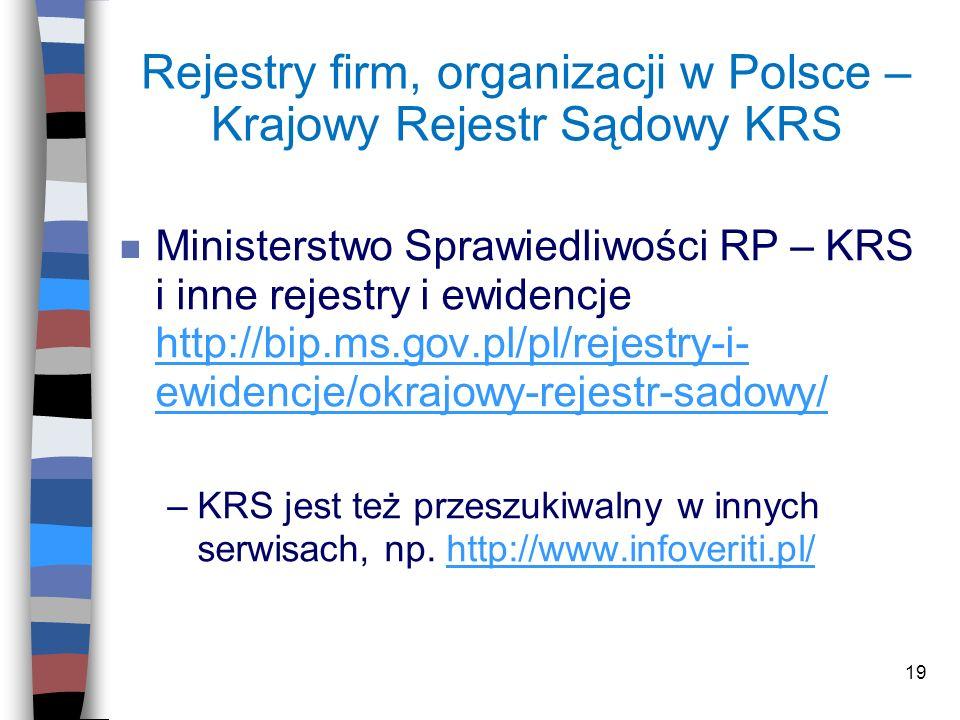 Rejestry firm, organizacji w Polsce – Krajowy Rejestr Sądowy KRS