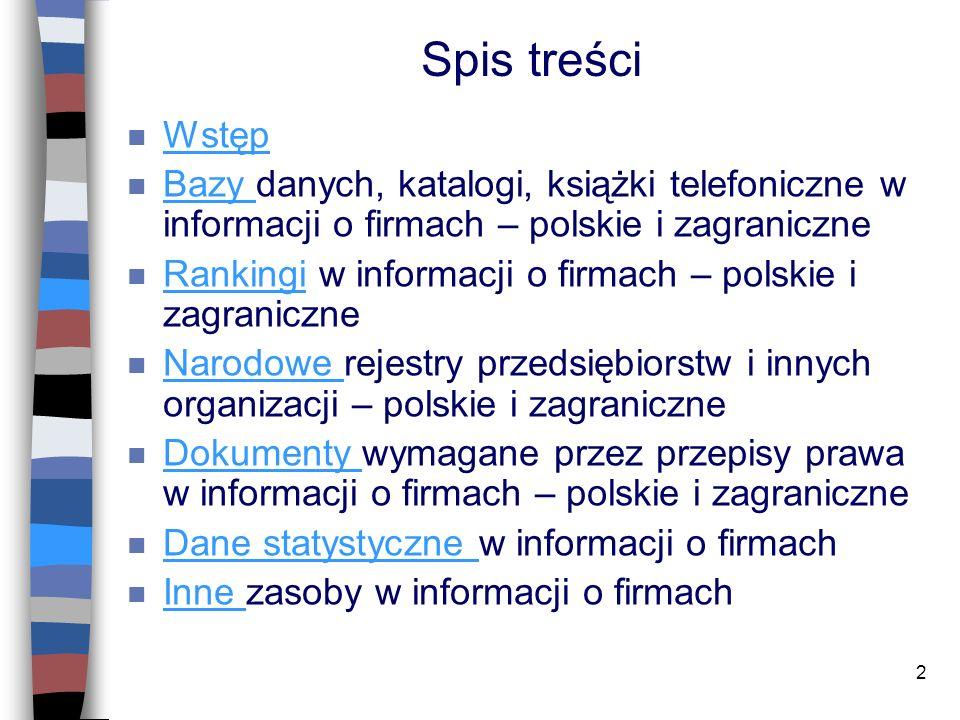 Spis treści Wstęp. Bazy danych, katalogi, książki telefoniczne w informacji o firmach – polskie i zagraniczne.