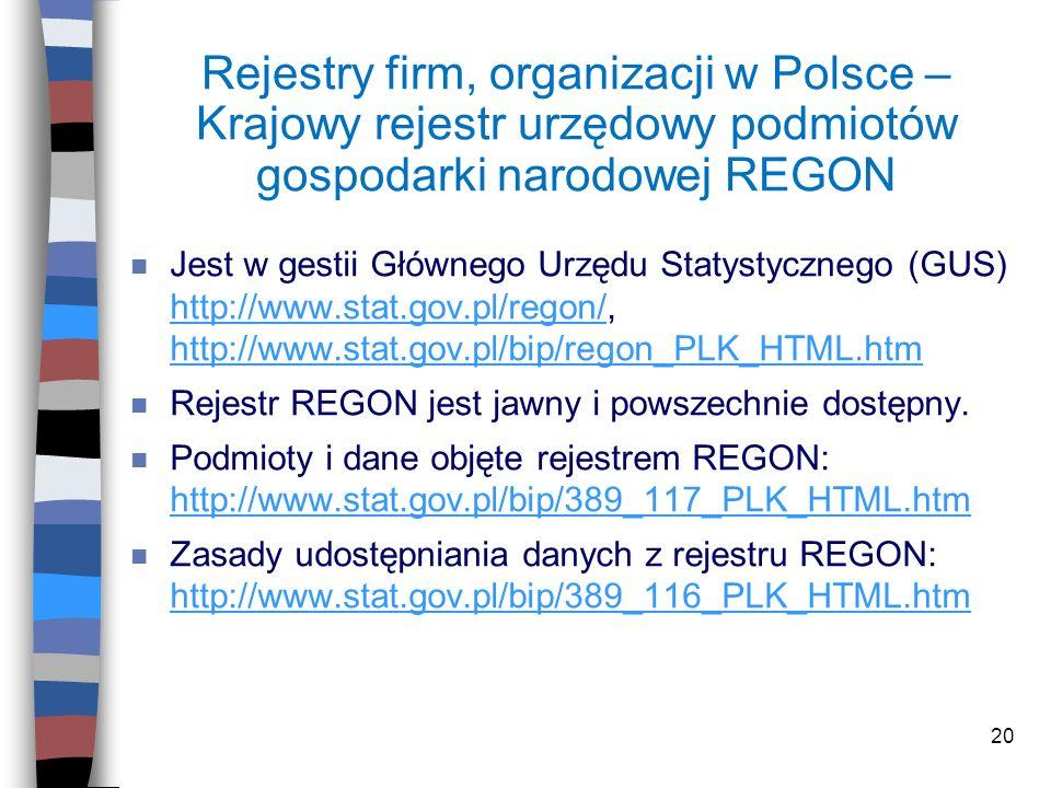 Rejestry firm, organizacji w Polsce – Krajowy rejestr urzędowy podmiotów gospodarki narodowej REGON