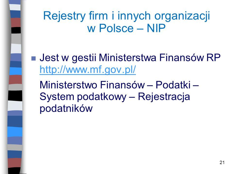 Rejestry firm i innych organizacji w Polsce – NIP
