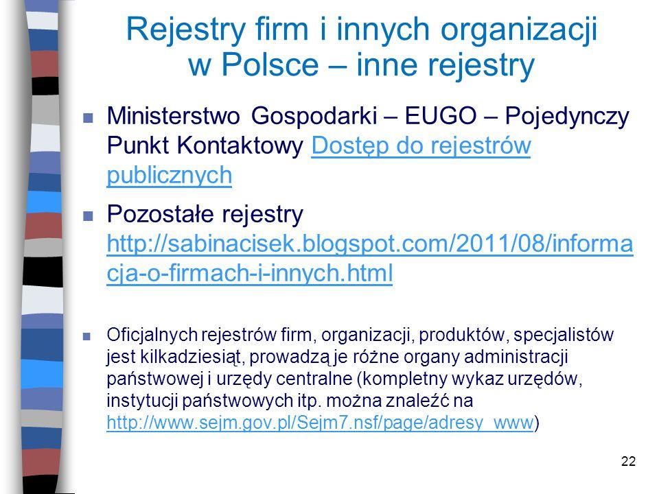 Rejestry firm i innych organizacji w Polsce – inne rejestry