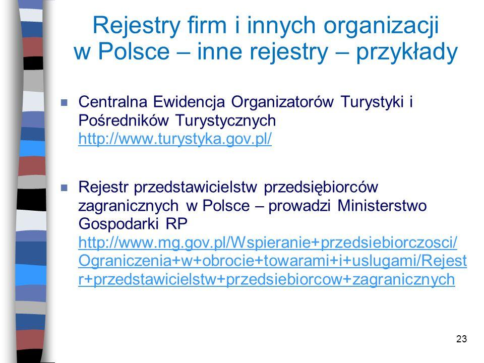 Rejestry firm i innych organizacji w Polsce – inne rejestry – przykłady