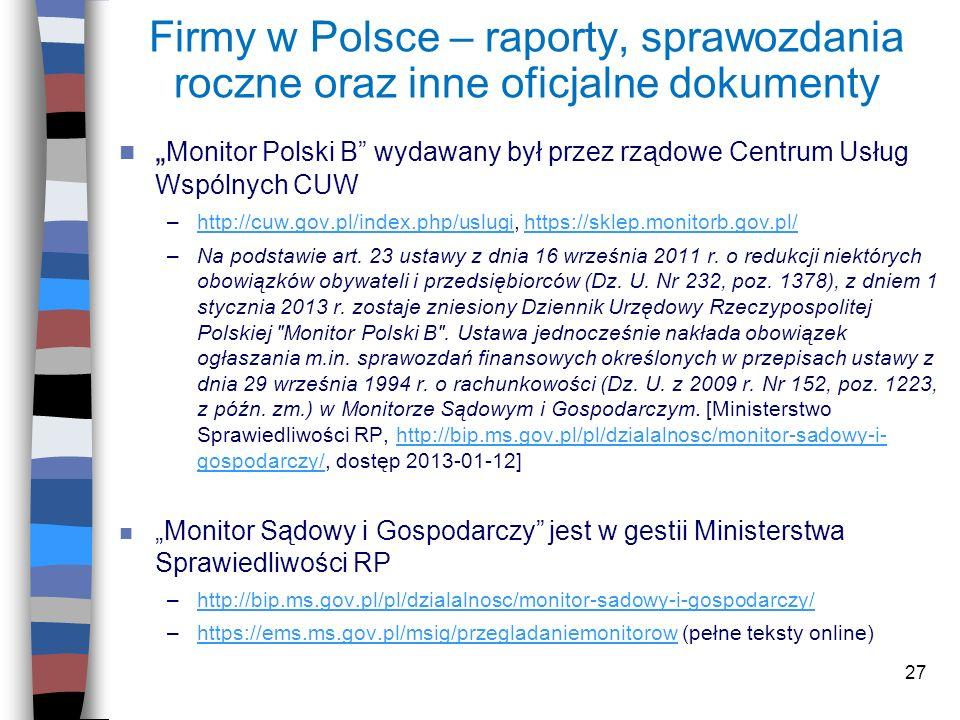 Firmy w Polsce – raporty, sprawozdania roczne oraz inne oficjalne dokumenty