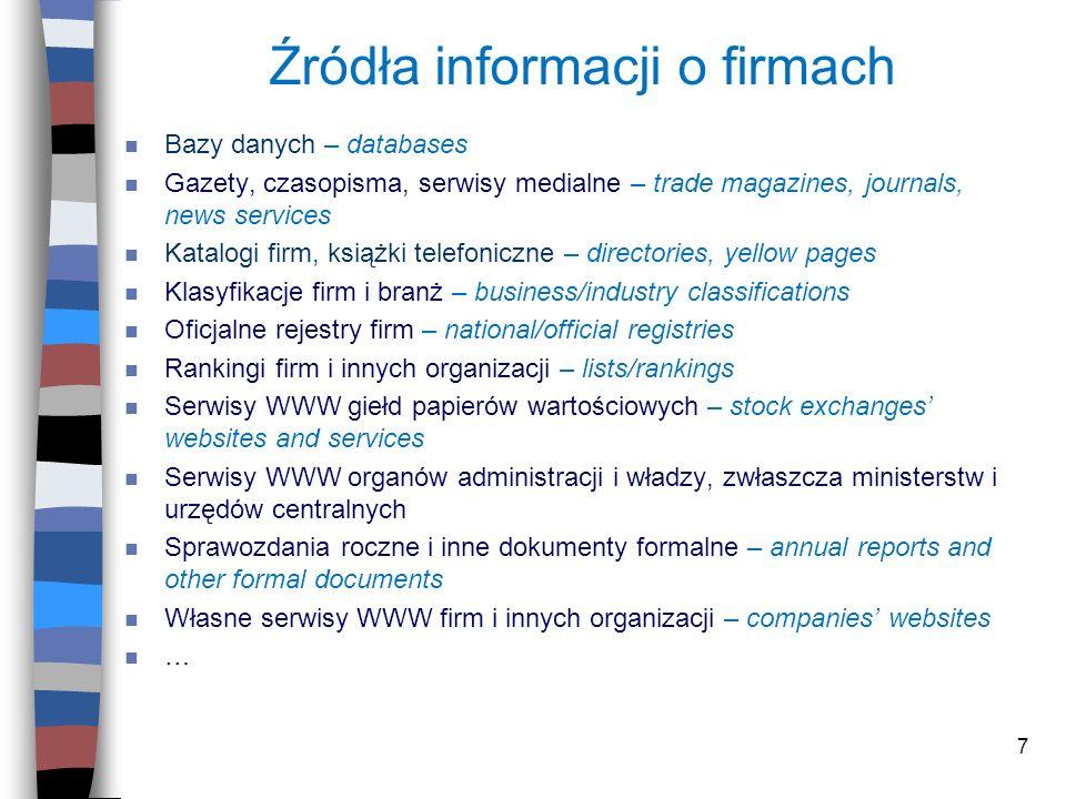Źródła informacji o firmach