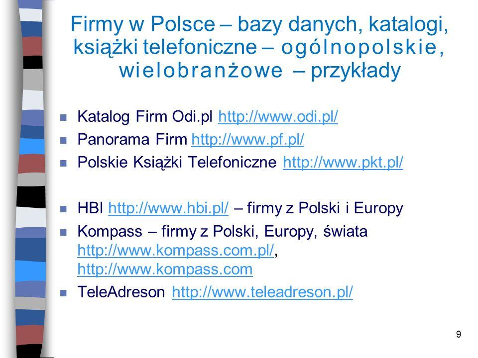 Firmy w Polsce – bazy danych, katalogi, książki telefoniczne – ogólnopolskie, wielobranżowe – przykłady