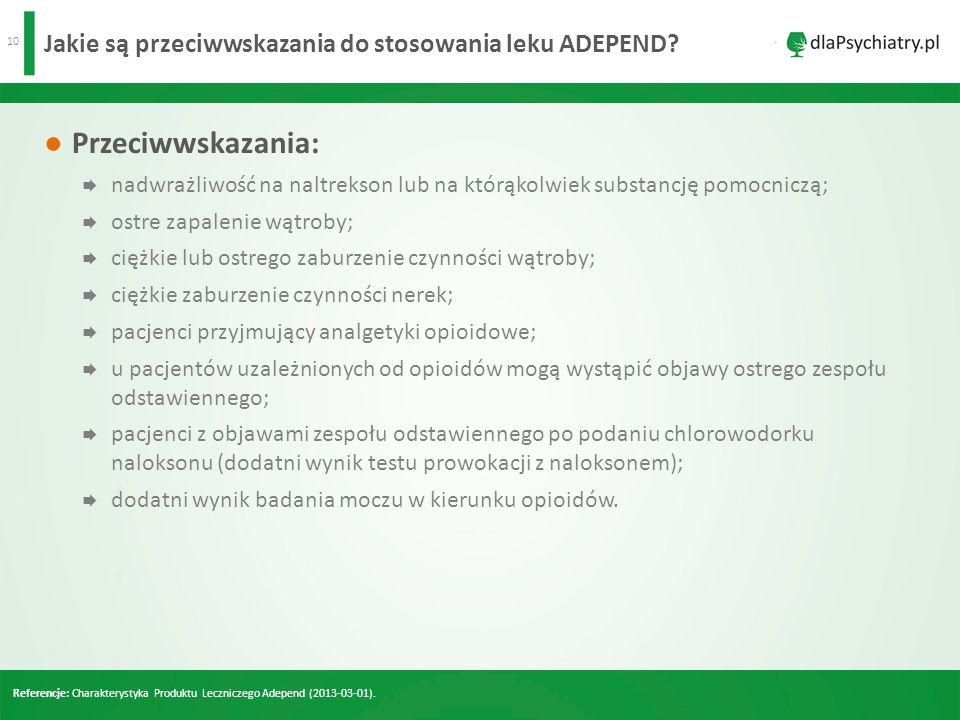 Jakie są przeciwwskazania do stosowania leku ADEPEND