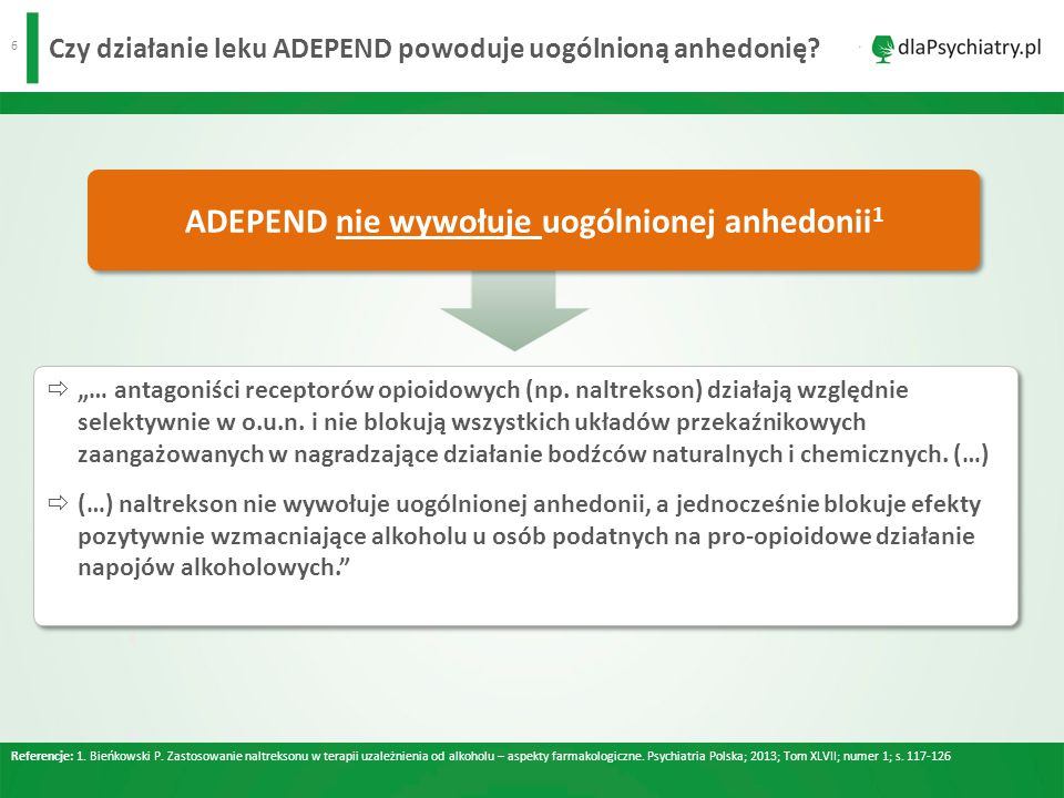 Czy działanie leku ADEPEND powoduje uogólnioną anhedonię