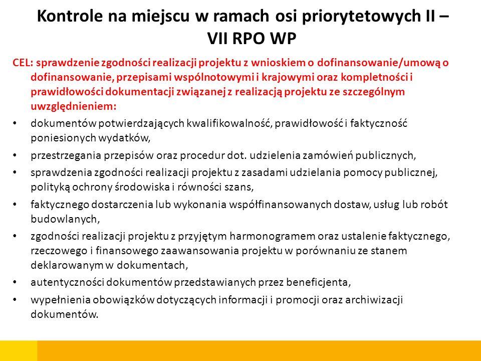 Kontrole na miejscu w ramach osi priorytetowych II – VII RPO WP