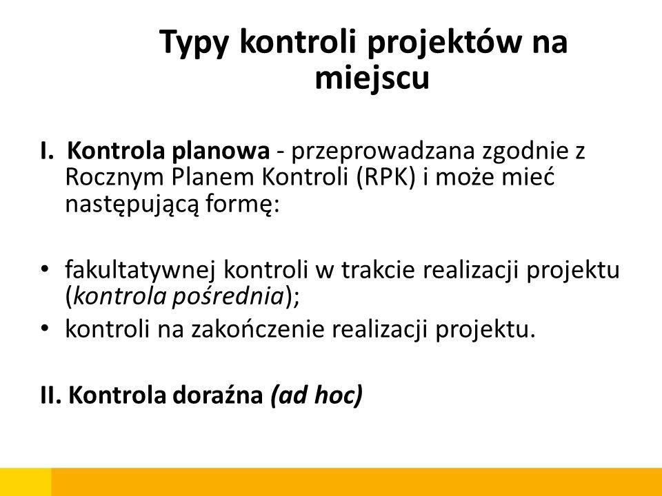 Typy kontroli projektów na miejscu